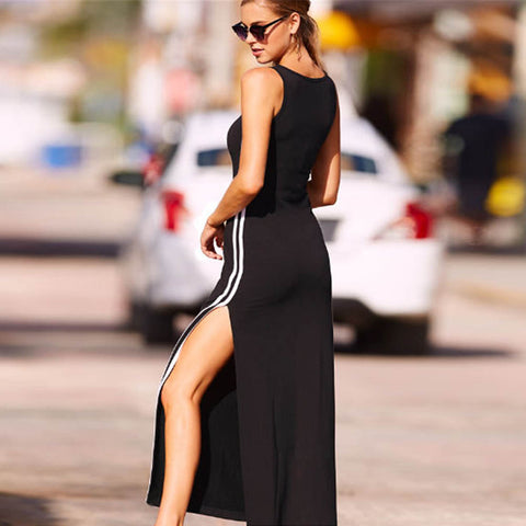Casual long sleeveless side striped dress,  FAST & FREE SHIPPING TO USA 2-7 DAYS