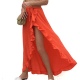Long ruffle beach skirt