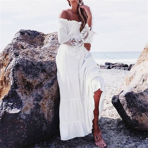 Off shoulder bohemian style maxi dress