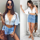 V neck cropped  lace top, cropped top, lace top, summer fashion 2018