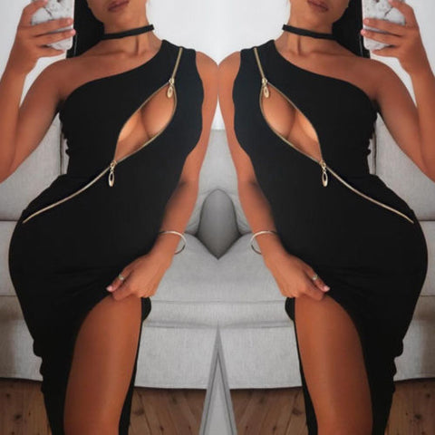 Sexy One shoulder zip up dress, party dress, summer fashion 2018