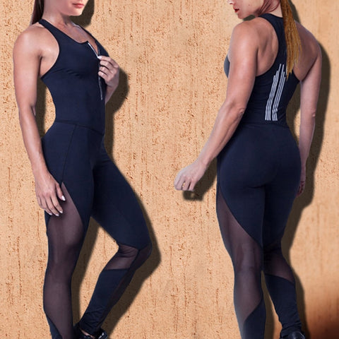 Casual patchwork mesh workout jumpsuit