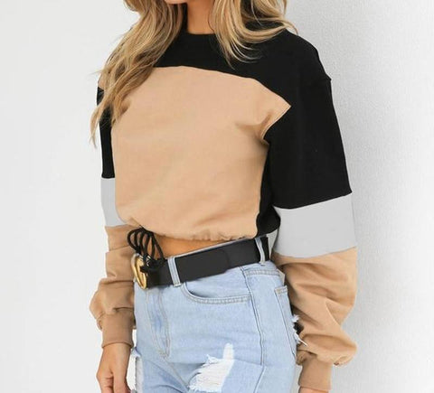 Casual cropped patchwork sweater.   fall fashion