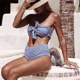 Casual ruffle plaid bikini set  swimsuit, beachwear
