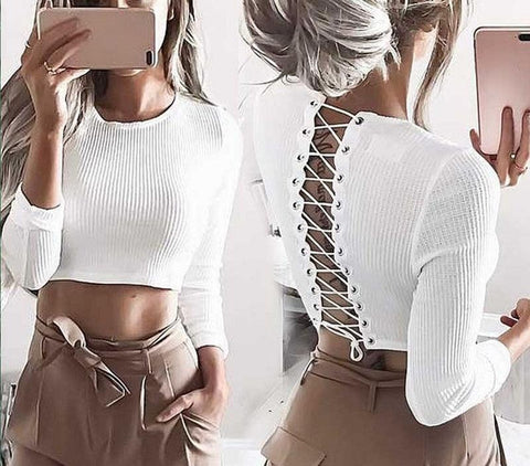 Long sleeve knitted cropped lace up top  fall fashion