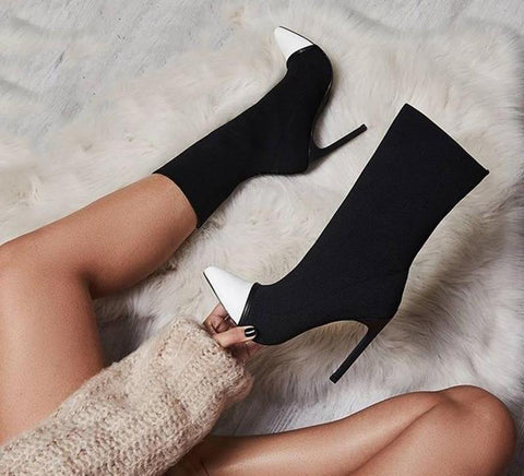 Elastic Socks Ankle Boots With Slip-On Thin Heels.