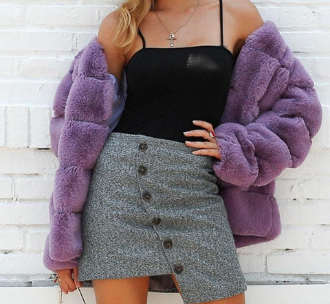Luxury and elegant faux fur coat. winter coat.