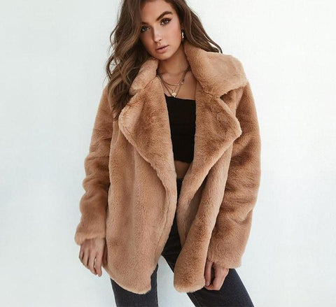 Turndown collar Faux Fur coat