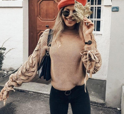 Casual long sleeve knitted twisted sweater.   fall fashion sweater, pullover.