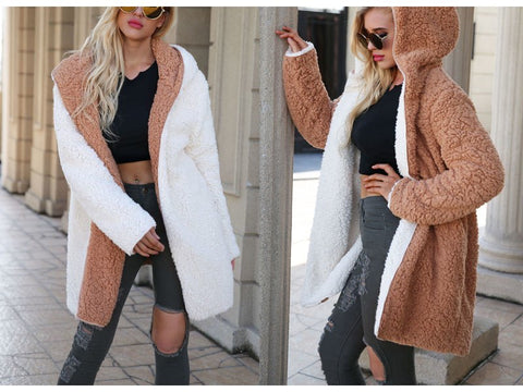 Casual hooded faux fur coat. woolen coat
