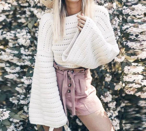 Casual knitted bell sleeve sweater top