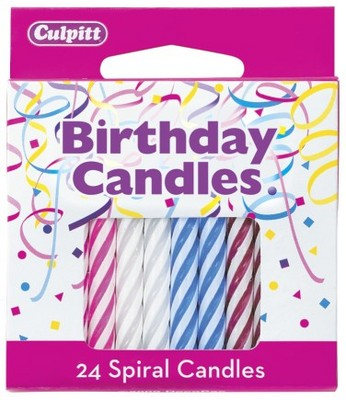 24 Assorted Multi Color Spiral Candles