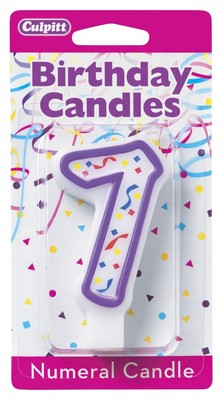 7 Purple Numeral Candle