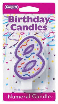 8 Purple Numeral Candle