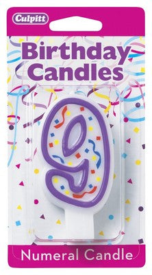 9 Purple Numeral Candle