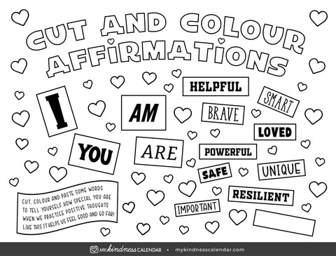 Cut and Colour Affirmations Free Printable Download for Kids from My Kindness Calendar