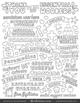 Thank you Essential Workers Colouring Sheet - My Kindness Calendar