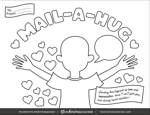Mail-a-Hug Colouring Sheet Template for Kids - My Kindness Calendar activity for kids