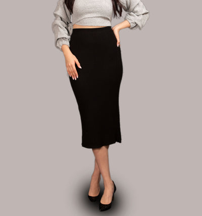 Laurena Knit Midi Skirt Black