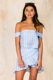 Emma Off The Shoulder Top - Blue-TOPS-BAMBI