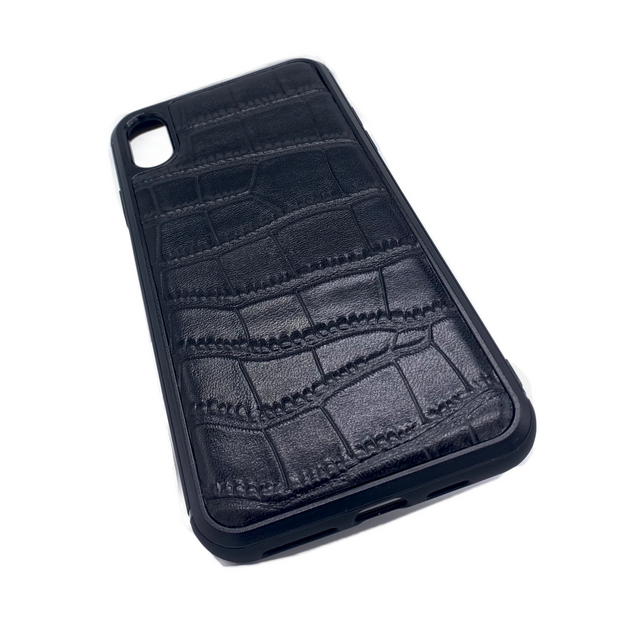 iPhone XS MAX Phone Case - Obsidian Crocodile Black