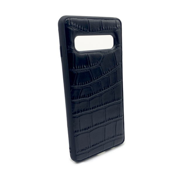 Samsung S10 Phone Case - Obsidian Crocodile Black