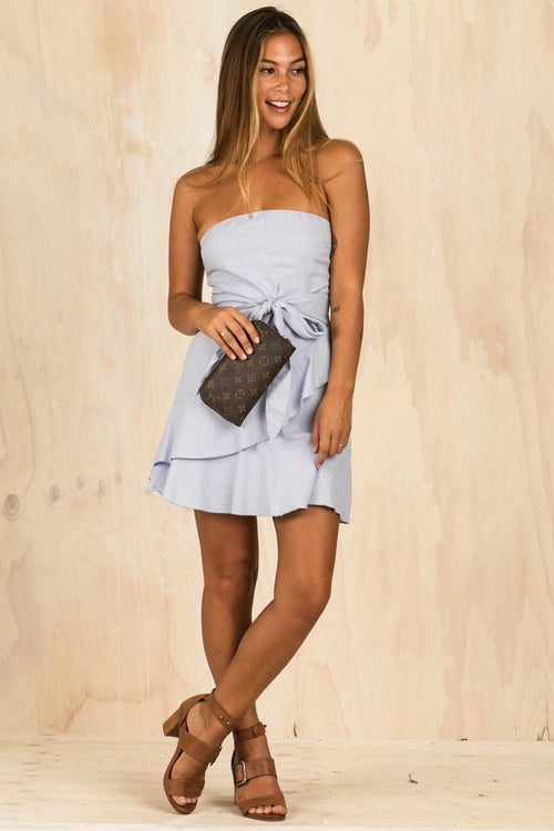 Amy Double Frill Blue Dress