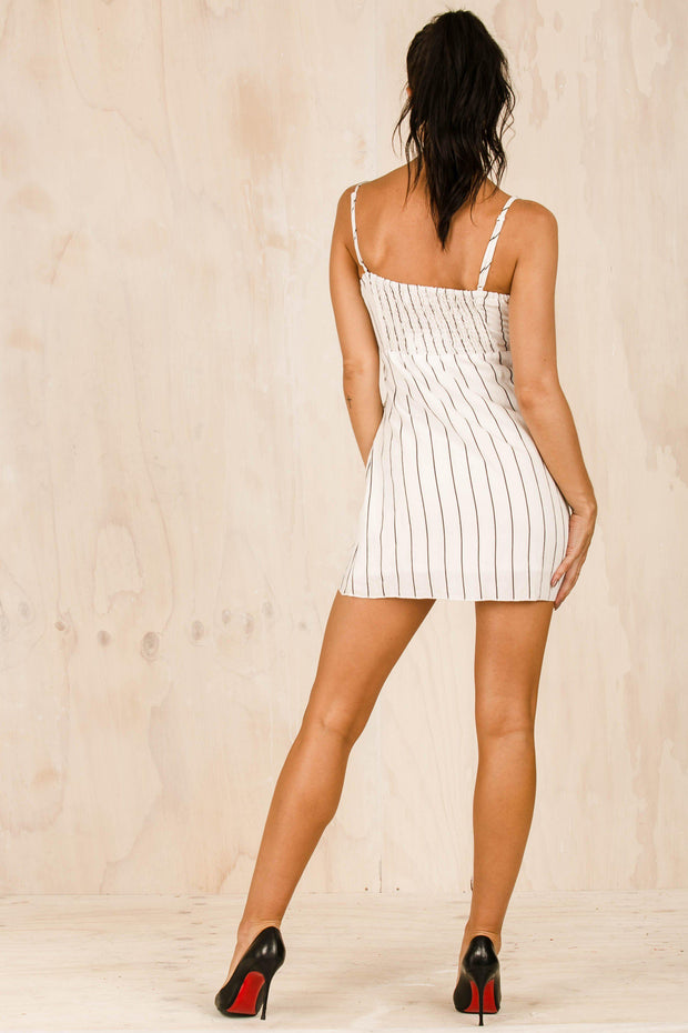 Acia White Wrap Dress-DRESSES-BAMBI