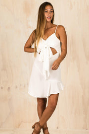 White Cutout Katie Dress-DRESSES-BAMBI