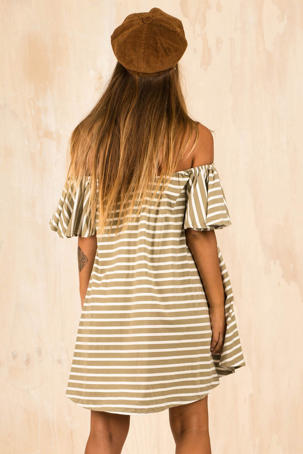 May Stripe Olive Dress