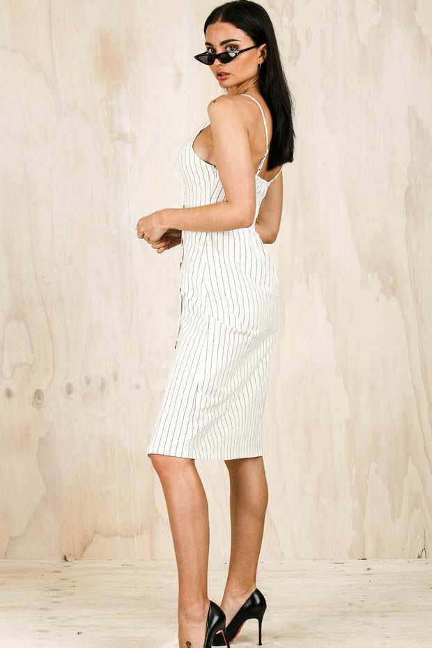 Laneway Button Up Dress White-DRESSES-BAMBI