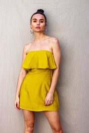 Brunch Time Strapless Dress Mustard