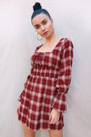 Scottish Girl Checkered Dress Maroon