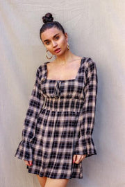 Scottish Girl Checkered Dress Black & Yellow