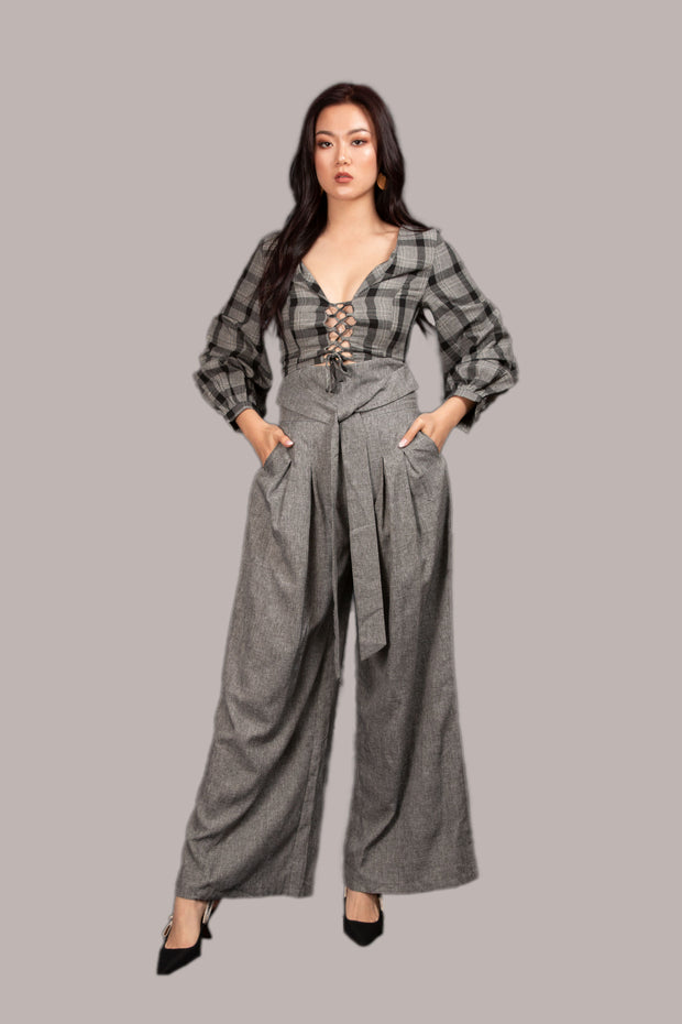 Lyssa Pleat Pants - Grey