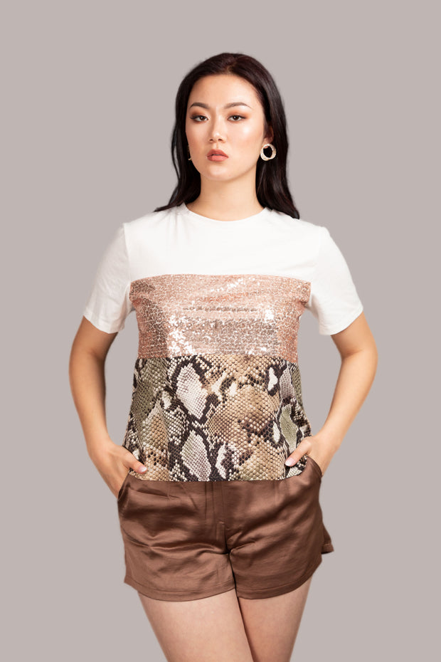 Go Girl Sequin Round Printed Tee - White
