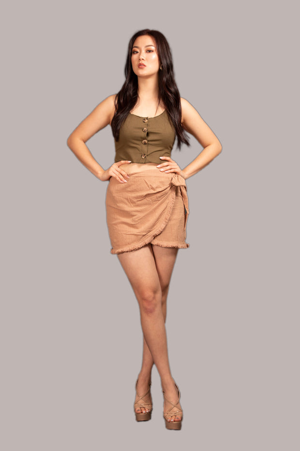 Come On Girl Wrap Skirt - Beige