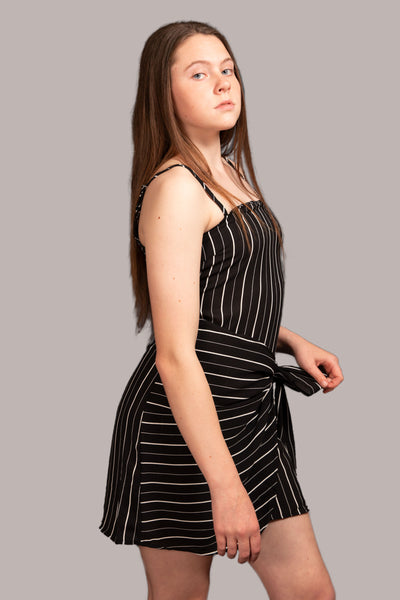 Elish Striped Dress - Black