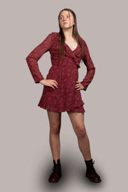 Kylie Dotty Mini Dress - Maroon