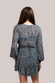 Lonnie Long Sleeve Dress Blue White Floral