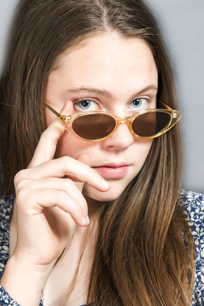 Cat Eye Clear Sunglasses - Light Brown
