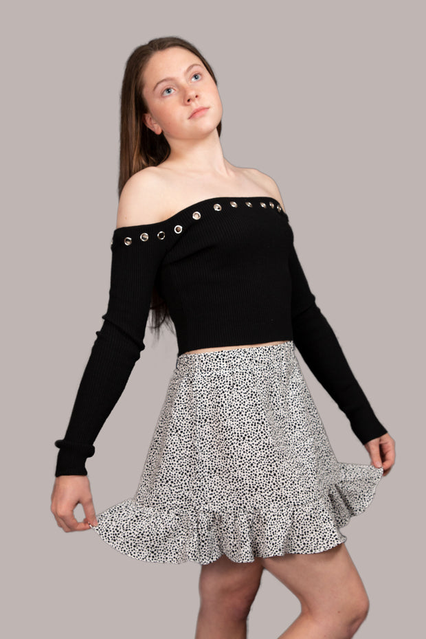 Clancy Off Shoulder Knit Crop Top