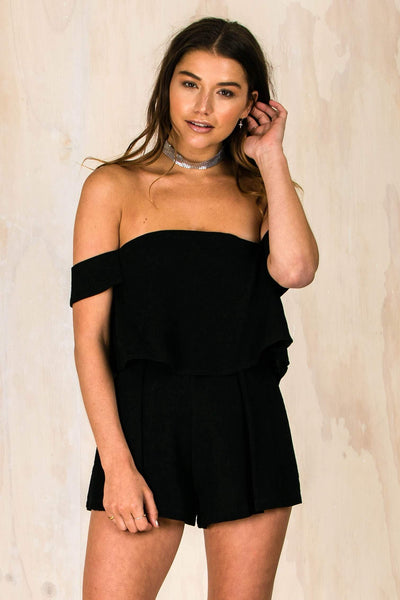 Lydia Lou Playsuit - Black-PLAYSUITS + JUMPSUITS-BAMBI