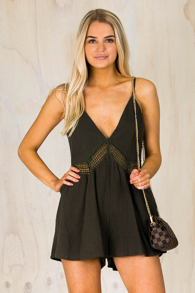 Sophia Playsuit - Olive Green