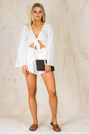 Orbit Tie Playsuit - White
