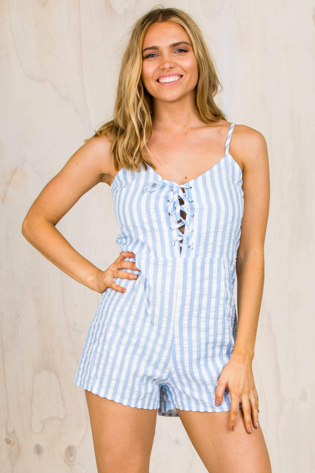 Sky Stripe Playsuit (FINAL SALE)-PLAYSUITS + JUMPSUITS-BAMBI