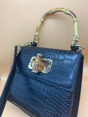 The Laine Bag Black Croc