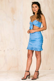Lulu Rushed Ruffle Skirt - Blue-BOTTOMS-BAMBI
