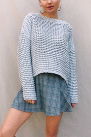 Edi Checkered Skirt - Grey