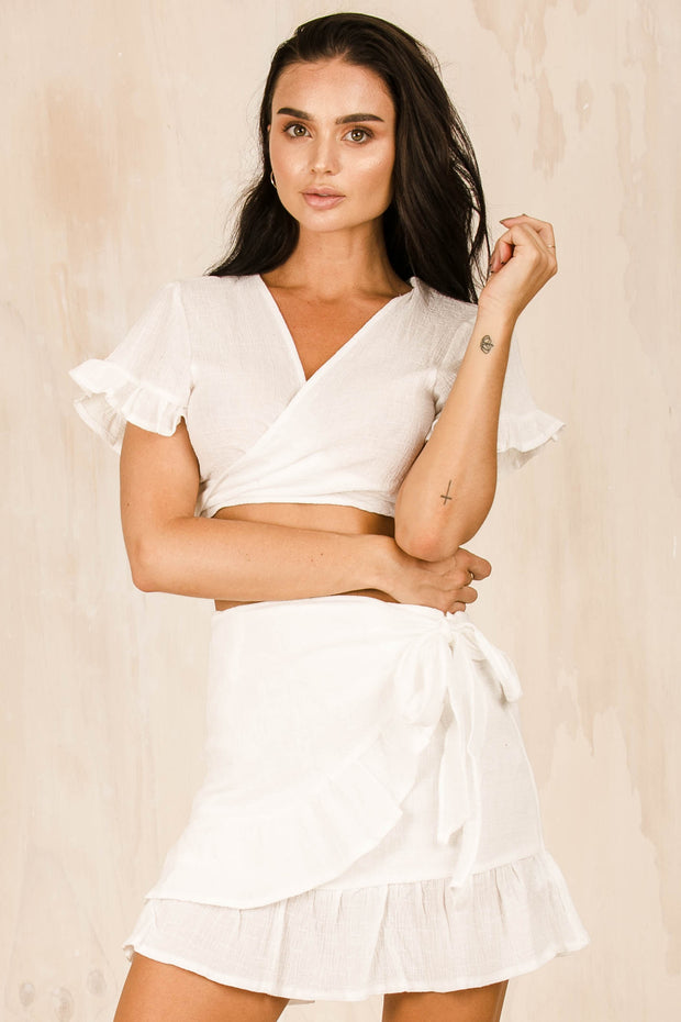 Alci White Wrap Around Skirt